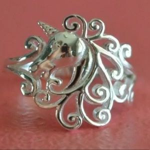 Sterling silver .925 unicorn fantasy ring bohemian